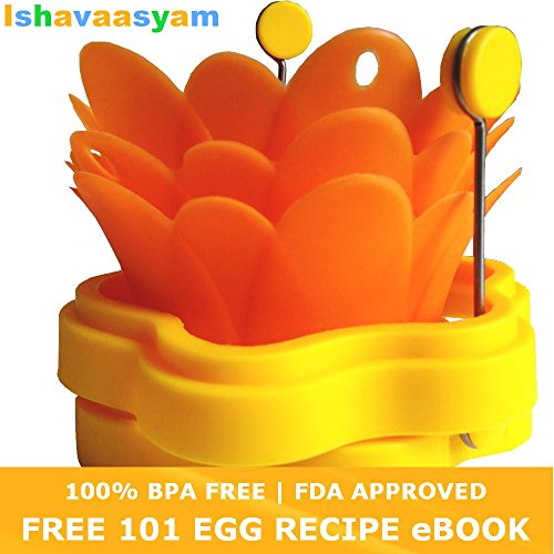 3 Silicone Egg Poacher (Egg Poaching cups - Egg Poacher Pod) - BONUS 2 Silicone Egg Ring (Benedict Egg Ring - Egg Mold - Pancake Ring - Pancake Mould - Non Stick Omelette Ring - Fried Egg Ring)