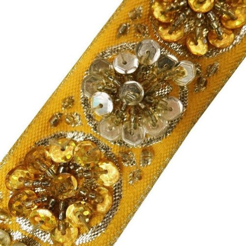 Yellow Beaded Trim Sequin Decorative Women Border Lace Sewing Craft 3 Yd