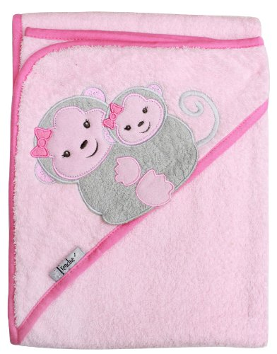 "Extra Large 40""x30"" Absorbent Hooded Towel, Grey Monkeys (pink), Frenchie Mini Couture - 1"