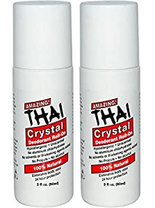 Thai Crystal Deodorant Stone All Natural Roll-On Deodorant For Body, Face and Feet -- Unscented, Aluminum Free & Organic With No Aluminum, Solvents, Parabens, Propyls, or Alcohol, 3 fl oz. (Pack of 2)