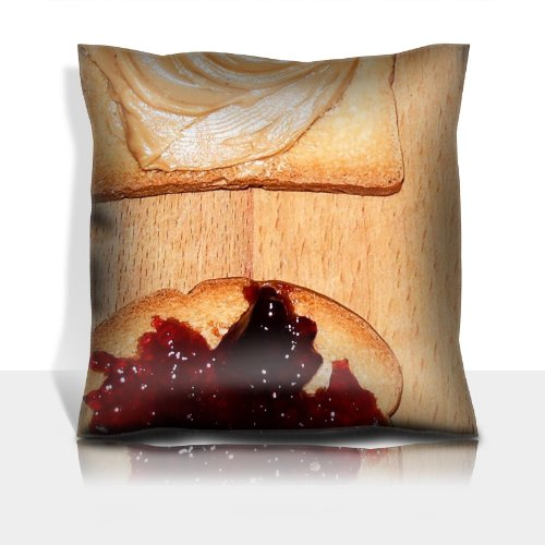 Sandwiches Jelly Bread Peanut Butter 100% Polyester Filled Comfort Square Pillows Customized Made To Order Support Ready Premium Deluxe 17 1/2 Inch X 17 1/2 Inch Graphic Background Covers Designed Color Definition Quality Simplex Knit Fabric Soft Wrinkle front-617091