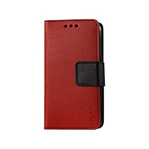 Reiko Polymer Cover Wallet Case for ZTE SONATA 2 - Retail Packaging - Red