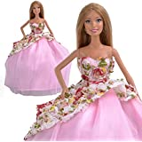 Yiding Handmade Flower Princess Dress Party Clothes Wedding Gown For Barbie Doll