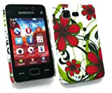 Emartbuy® LCD Screen Protector And Red Hawaiian Flowers Clip On Protection Case/Cover/Skin For Samsung S5220 Tocco Lite 2