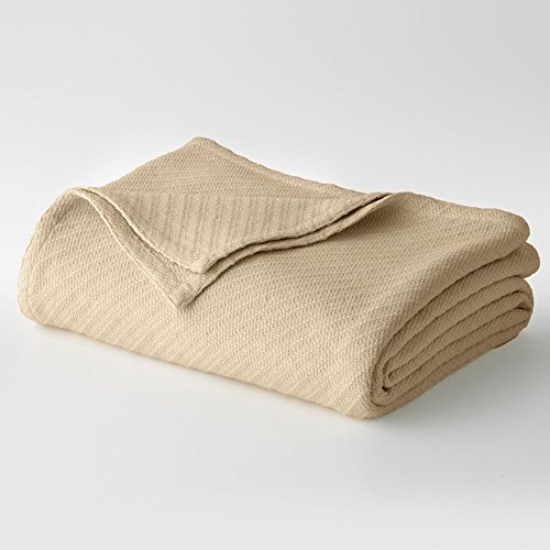 Cotton Craft - 100% Soft Premium Cotton Thermal Blanket - King Beige - Snuggle in these Super Soft Cozy Cotton Blankets - Perfect for Layering any Bed - Provides Comfort and Warmth for years (Thermal Blanket Cotton compare prices)