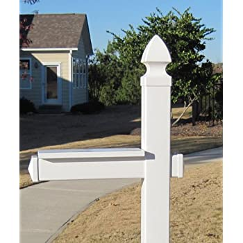 The Richmond Vinyl / PVC Mailbox Post - White (Mailbox Not Included)