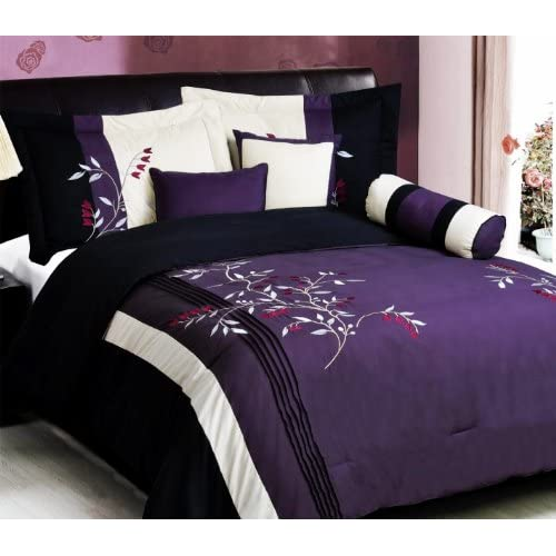 7 pc modern purple black embroidered comforter set bed in a bag queen size bedding. Black Bedroom Furniture Sets. Home Design Ideas