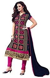 Women Icon Presents Embroidered Georgette Dress Material(Navy Blue,Rani)