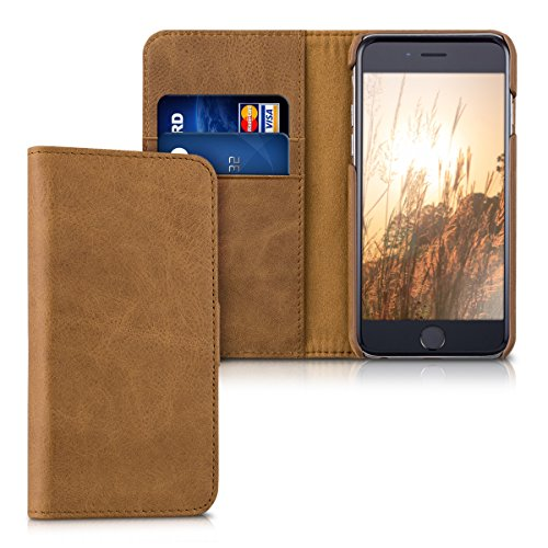 kalibri-Leder-Hlle-James-fr-Apple-iPhone-6-6S-Echtleder-Schutzhlle-Wallet-Case-Style-mit-Karten-Fchern-in-Cognac