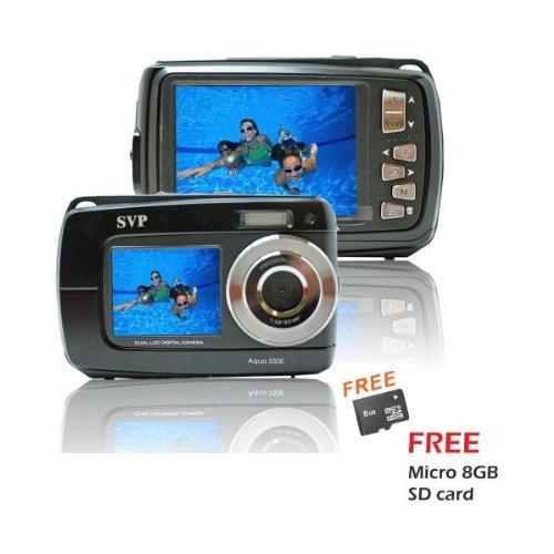 Aqua 5500 Black (with Micro 8GB) 18 MP Dual Screen Waterproof Digital Camera