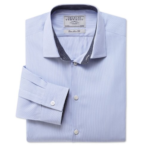 Charles Tyrwhitt Sky fine Bengal business casual extra slim fit shirt (15.5 - 35)
