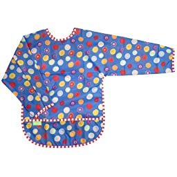 Kushies Art Smock with sleeves, Blue Crazy Circles, 2-4 Years