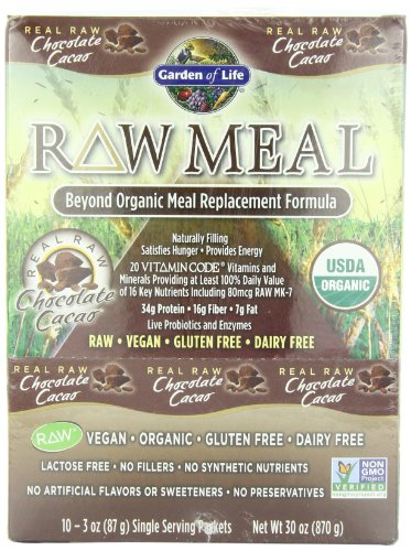 Garden Of Life Raw Organic Meal Chocolate Packets 3oz 10 Cnt Tray 658010116114