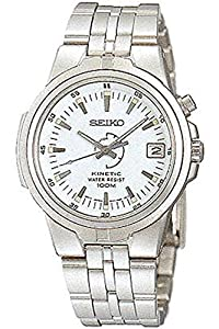 Seiko SKH657P1 Mens Kinetic Water Resistant Stainless Steel White Dial Watch