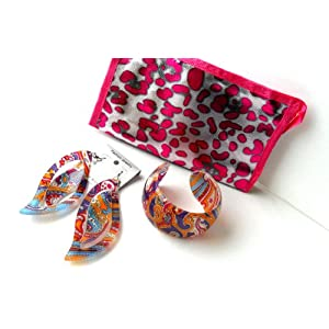 Acrylic Fashion Bangle Paisley Print Bracelet & Earring Gift Set