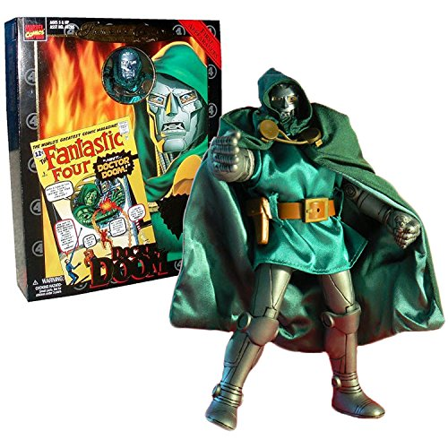 ToyBiz Year 1998 Marvel Comics Famous Cover Series 8 Inch Tall Ultra Poseable Action Figure - First Appearance DOCTOR DOOM with Authentic Fabric Costume