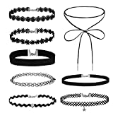 8 Pieces Choker Necklace Velvet Classic Vintage Lace Collar Girls Tattoo Gothic Stretch Set
