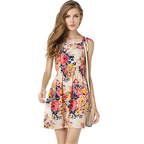 Women's Summer Sleeveless O Neck Sundress Chiffon Beach Floral Casual Mini Dress