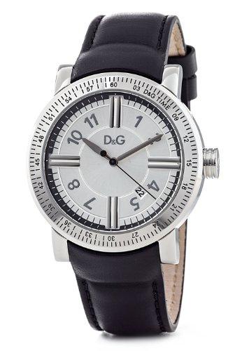 Dolce & Gabbana EL 3H MAN SS CASE SILVER DIAL SMOOTH BLACK DW0483 - Reloj de caballero de cuarzo, correa de piel color negro