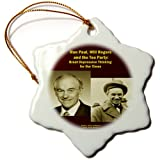 3dRose Orn_26361_1 Ron Paul Will Rogers And The Tea Party-Snowflake Ornament, Porcelain, 3-Inch