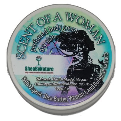 Shea Butter Body Moisturiser with Scent Of A Woman Fragrance, Natural Hand-crafted Body Cream. Effective Moisturiser For Dry Skin (160ml) from SheaByNature