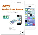 JOTO Premium Screen Protector Film for Apple iPhone 5S / iPhone 5, Anti Glare, Anti Fingerprint (Matte Finish) with Lifetime Replacement Warranty (ATT, T-Mobile, Sprint, Verizon and all other carriers) (3 Pack)