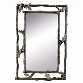 Pinecone and Branch Wall Mirror - 22W x 33.5H in. by San Pacific International Inc