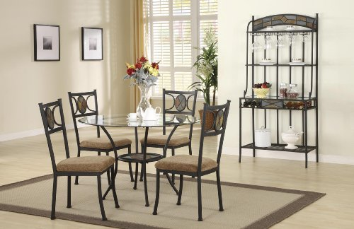 Cheap Transitional 5 Piece Table and 4 Chairs Glass Top Dinette Set with Metal Base and real Slate (D877)