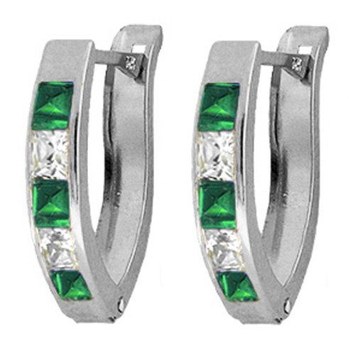 .925 Sterling Silver Hoop Earrings with Imitation Emeralds & Cubic Zirconia CZ
