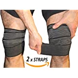 Armstrong Amerika Knee Pain Relief Straps Support Wraps Gym Squat Lifting Knee Brace Velcro Compression Bandage Sleeve Reduce Rheumatoid Arthritis Joint Inflammation Swelling & Fluid (Medium)