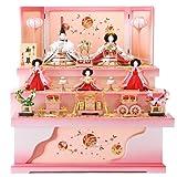 雛人形 ひな人形 五人飾り 三段飾り 収納飾り 光悦 ピンク塗 h263-sb-koetsu