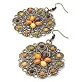 Drop Pierced Fashion Earrings Burnt Gold & Brownby Unknown