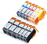 12 Pack Compatible Canon CLI-226 , PGI-225 3 Small Black, 3 Big Black, 2 Cyan, 2 Magenta, 2 Yellow