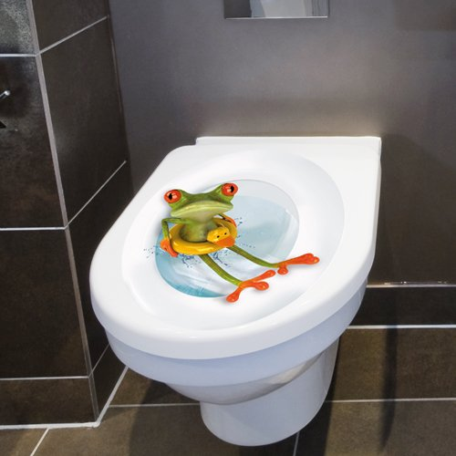 Wandkings Toilet Lid Decal Frog With Lifesaver 11 8 X 15 7 Inch