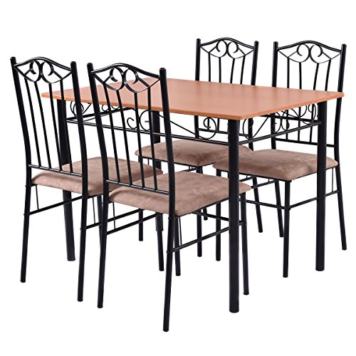 Tangkula 5 piecewood top metal dining set table and 4 for Kitchen set node attributes