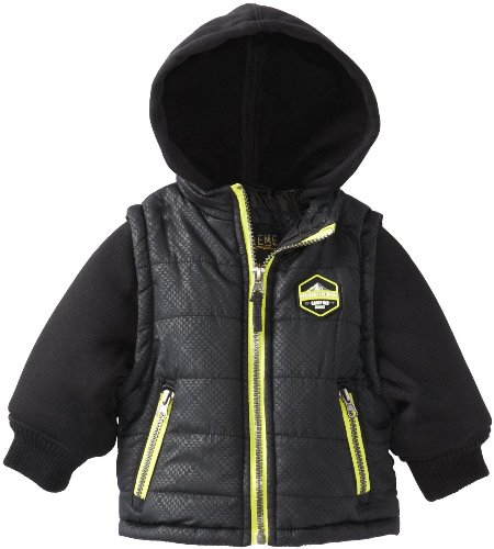 Ixtreme Black Toddler Boys 2-4T Heat Stamp Vestie Puffer Hooded Jacket