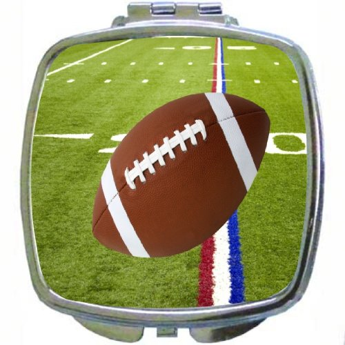 Rikki Knighttm Football On Red White & Blue Field Design Compact Mirror front-608551