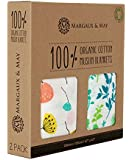 """Organic Muslin Swaddle Blankets by Margaux & May   47"""" X 47""""   Ultra Soft   Lifetime Guarantee"""