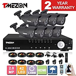 TMEZON NEW 16CH 1080N AHD Video DVR Security System 8 AHD 2.0MP 130ft Super Night Vision 42 IR LEDs Indoor/Outdoor Security Camera High Quality Transmit Range P2P/QR Code Scan Easy Setup
