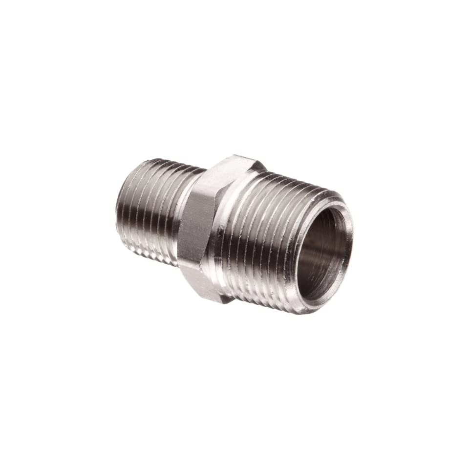 Polyconn PC123NB 42 Nickel Plated Brass Pipe Fitting, Reducer Nipple, 1/4 NPT Male x 1/8 NPT Male (Pack of 5)