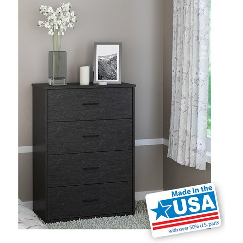 4-Drawer Chest In Black Oak Finish, Easy-Glide Drawers, Metal Handles, Stylish front-945196