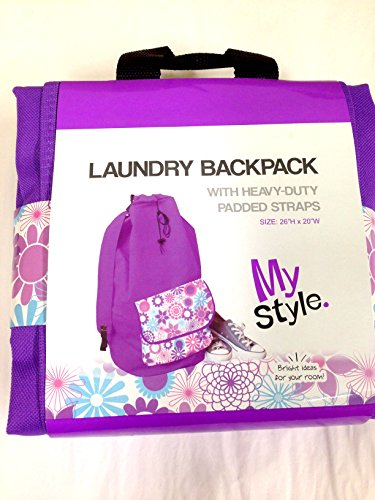 My Style Laundry Backpack - Purple With Bright Floral Pattern front-297114