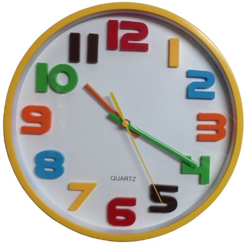 Primary Colors Round Yellow Wall Clock with Rainbow and White Face with Secondhand - 10 Inches