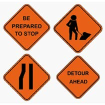 various working signs