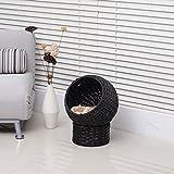 "Pawhut 21"" Hooded Rattan Wicker Elevated Cat Bed - Black/Beige"