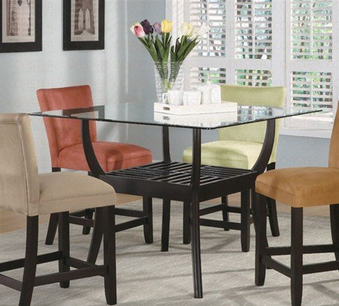 Cheap Counter Height Dining Table with Glass Top Cappuccino Finish (VF_100588-CB48ST)