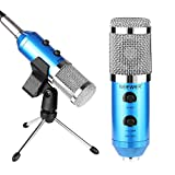 Neewer Blue NW-300E Professional USB Condenser Microphone with Butterfly Clip Holder, Desktop Tripod Stand, XLR Female to USB and 3.5mm Male Splitter Cable and Ball-type Anti-wind Foam Cap