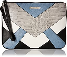 Nine West Internal Affairs SLG Essential Zip Pouch, Cobblestone/Snow Petal/Black/Blue Sky, One Size
