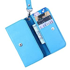 Dooda Genuine Leather Wallet Pouch Case For Lava iris N400 (SKY BLUE)