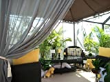 Outdoor Gazebo Patio Drapes.. Smoke Gray Semi Sheer 95